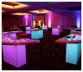 South Beach White LED Casino Tables
